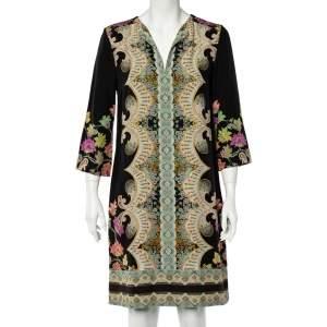 Etro Black Floral Print Silk Shift Dress M