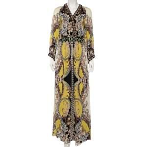 Etro Multicolor Floral Print Beaded Maxi Dress M