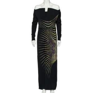 Etro Black Printed Crepe Bead Embellished Maxi Dress L