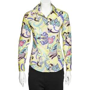 Etro Lime Green Floral Printed Cotton Button Front Shirt S