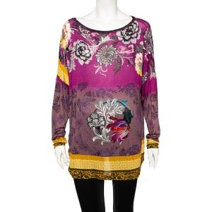 Etro Multicolored Floral Printed Knit Long Sleeve Top L