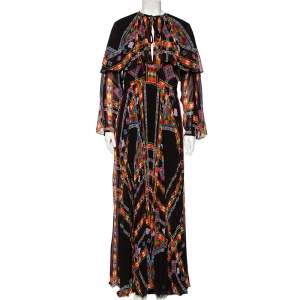 Etro Black Printed Georgette Cinched Waist Detailed Pleated Maxi Dress L