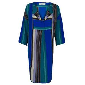 Etro Multicolor Striped Silk Long Sleeve Tunic Dress M