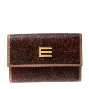 Etro Brown Paisley Print Coated Canvas Compact Wallet