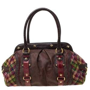 Etro Multicolor Paisley Coated Canvas,Croc Embossed Leather and Fabric Frame Satchel