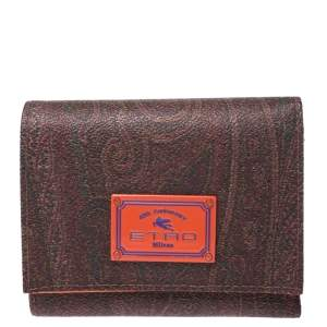 Etro Brown Paisley Coated Canvas Trifold Wallet