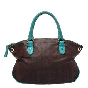 Etro Turquoise/Brown Paisley Coated Canvas Convertible Bag