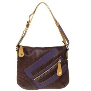 Etro Purple/Yellow Paisley Coated Canvas Crossbody Bag