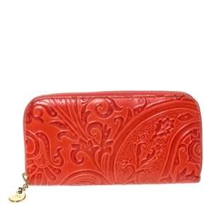 Etro Orange Paisley Leather Zipped Around Wallet