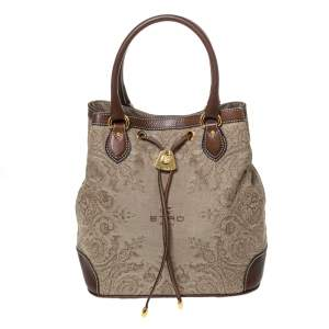 Etro Brown/Beige Printed Jacquard Fabric and Leather Drawstring Bag