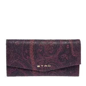 Etro Purple Paisley Nylon Continental Wallet