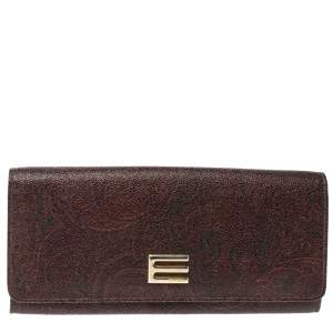 Etro Brown Paisley Print Coated Canvas Continental Wallet