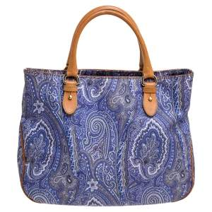 Etro Multicolor Paisley Print Coated Canvas and Leather Tote
