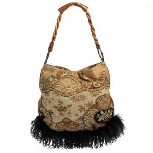 Etro Multicolor Printed Canvas and Leather Fringed Braided Handle Hobo