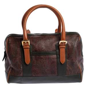 Etro Multicolor Paisley Print Coated Canvas and Leather Satchel