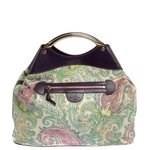 Etro Multicolor Paisley Embossed Leather Tote