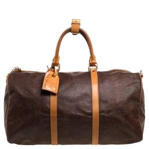 Etro Paisley Coated Canvas and Leather Weekender Duffel Bag