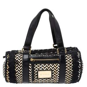 Etro Black/Beige Woven Straw and Leather Boston Bag