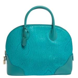 Etro Blue Paisley Embossed Leather Satchel