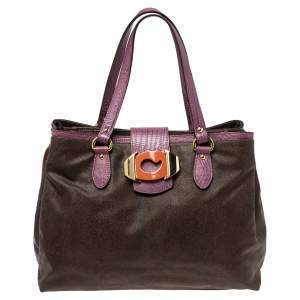 Etro Brown/Purple Paisley Printed Canvas and Lizard Embossed Leather Tote