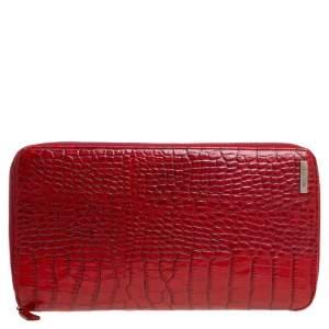 Etro Red Croc Embossed Leather Zip Around Organizer Wallet