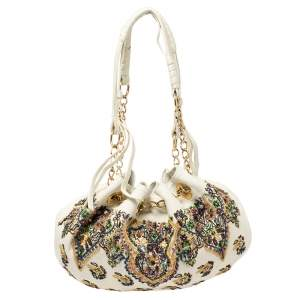 Etro White Leather Beads Embroidered Drawstring Shoulder Bag