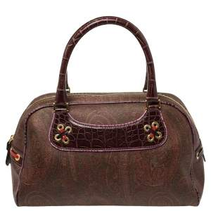 Etro Multicolor Paisley Print Coated Canvas and Leather Eyelet Satchel