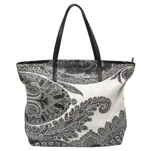 حقيبة يد إيترو سحاب جلد مطبوع بايزلي أبيض و أسود