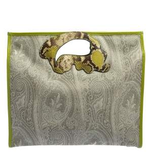 Etro Grey/Green Paisley Coated Canvas Python Embossed Leather Bag