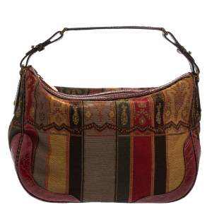 Etro Multicolor Print Canvas and Croc Embossed Leather Hobo