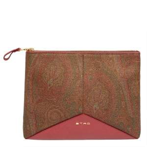 Etro Multicolor Paisley Print Coated Canvas and Leather Slim Zip Pouch