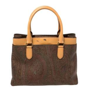 Etro Multicolor Paisley Print Coated Canvas and Leather Zip Tote