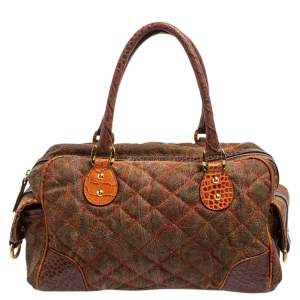 Etro Multicolor Paisley Print Quilted Fabric and Croc Embossed Leather Side Pocket Boston Bag