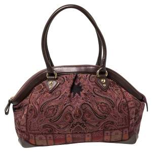 Etro Multicolor Paisley Print Fabric and Leather Zip Satchel