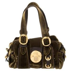 Etro Olive Green Velvet and Leather Buckle Flap Satchel