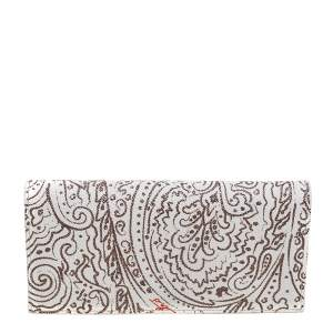 Etro White/Brown Paisley Print Coated Canvas Continental Wallet