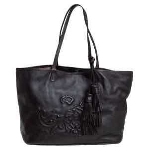 Etro Dark Brown Paisley Embossed Leather Tote
