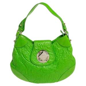 Etro Bright Green Paisley Embossed Leather Flap Hobo