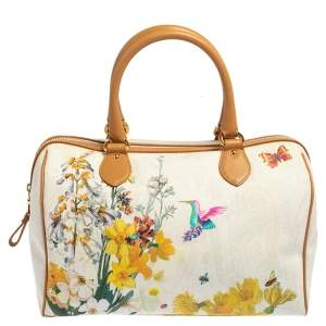 Etro Multicolor Floral Print Coated Canvas and Leather Boston Bag