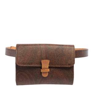 Etro Brown Paisley Coated Canvas and Leather Trim Belt Bag