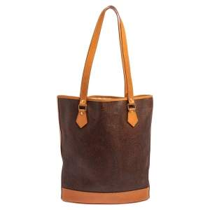 Etro Brown Paisley Print Coated Canvas and Leather Vertical Tote