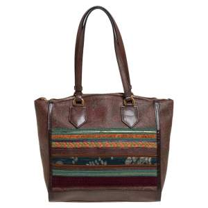 Etro Brown Paisley Printed Coated Canvas And Leather Patchwork Tote