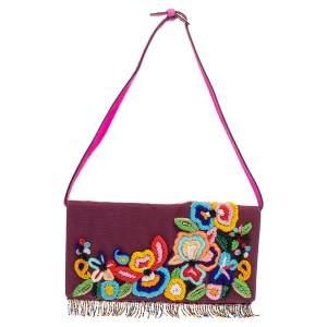 Etro Purple Mesh  Embroidered Shoulder Bag