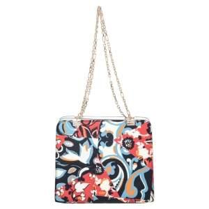 Etro Beige Printed Coated Canvas Chain Shoulder Bag