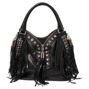 Etro Black Leather Studded Fringe Shoulder Bag
