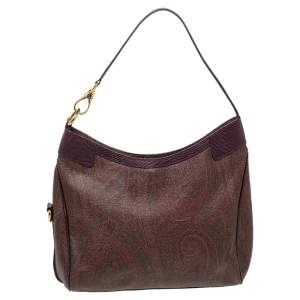 Etro Brown/Purple Paisley Print Coated Canvas And Lizard Embossed Leather Hobo