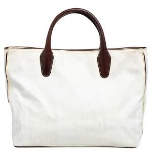 حقيبة يد توتس إيترو جلد وكانفاس مقوى طباعة بيزلي أبيض