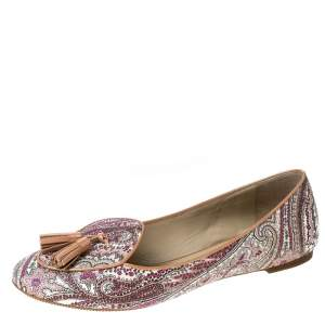 Etro Multicolor Printed Coated Canvas Tassel Ballet Flats Size 36
