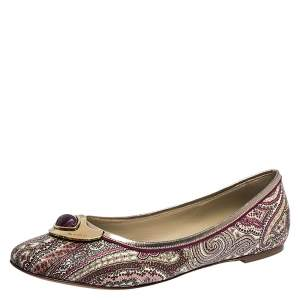Etro Purple Paisley Printed Coated Canvas Embellished Ballet Flats Size 41