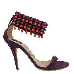 Etro Purple Suede Embellished Ankle Strap   Sandals